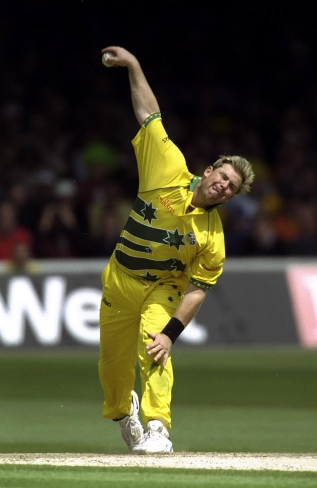 20 Jun 1999:  Shane Warne of Australia bowls during the Cricket World Cup Final against Pakistan at Lord's in London. Warne took 4 for 33 as Australia won by 8 wickets. \ Mandatory Credit: Clive Mason /Allsport