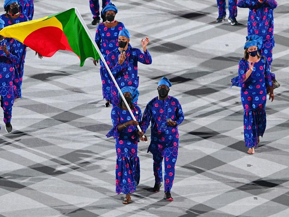Athletes from Benin make their entrance at the Summer Olympics.