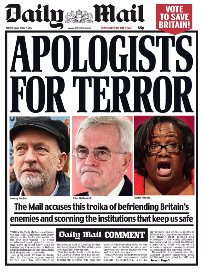"""<p>The Daily Mail again courted controversy by accusing several of Labour's leading figures, including Jeremy Corbyn, John McDonnell and Diane Abbott, of """"befriending Britain's enemies"""".<br /> It was the first of 14 pages attacking Labour ahead of the General Election in June.<br /> Like the Sun, many supporters of Corbyn bought copies in order to burn them. </p>"""