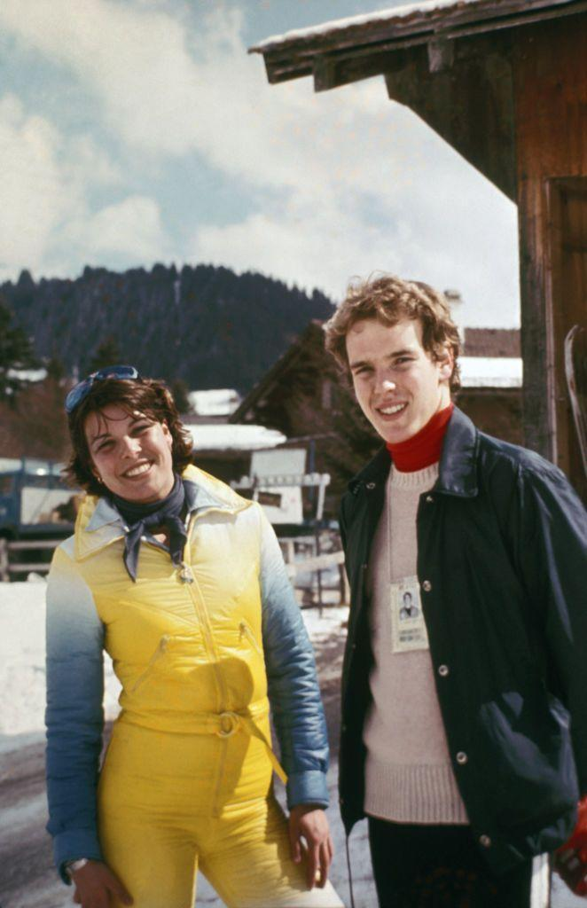 <p>Après-ski chic according to Princess Caroline (pictured here with her brother Prince Albert in 1976).</p>