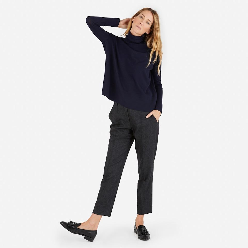 """<p>Everlane is the original basics brand that values classic style as much as they do comfort. Their timeless pieces are always reasonably priced and worth every penny. Everlane's Luxe Wool Square Turtleneck is a favourite of mine this season with a slightly looser cut for maximum eating potential.<i>Get it <a href=""""https://www.everlane.com/collections/womens-newest-arrivals/products/womens-luxe-wool-square-ttlnk-darknavy"""">here</a>.</i></p>"""