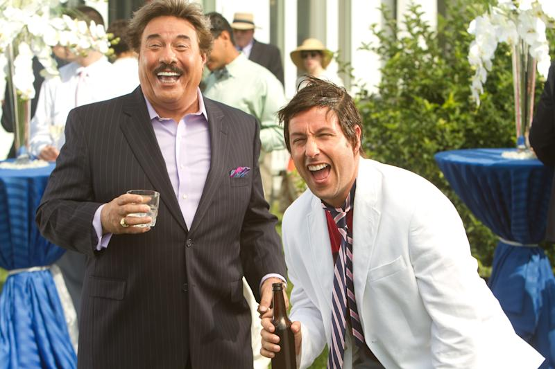 """This film image released by Columbia Pictures shows Tony Orlando, left, and Adam Sandler in a scene from """"That's My Boy."""" Sixty-eight-year-old Orlando said in a recent interview that the idea to cast him in the film which opens Friday, came about after running into Sandler at a birthday party for a mutual friend. Two days later Sandler called him up asking if he'd want to appear in his next film. (AP Photo/Columbia Pictures - Sony, Tracy Bennett)"""