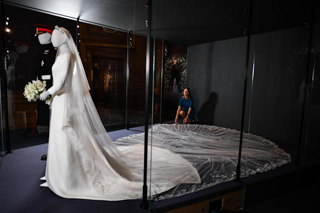 The couple's wedding outfits went on display in Edinburgh. (Getty Images)