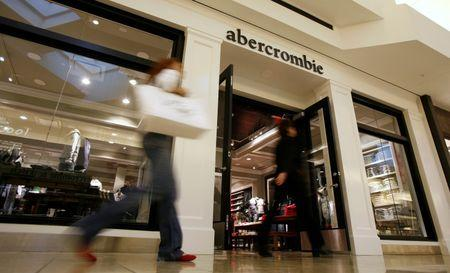 Shoppers make their way past the abercrombie store at Woodfield Mall in Schaumburg