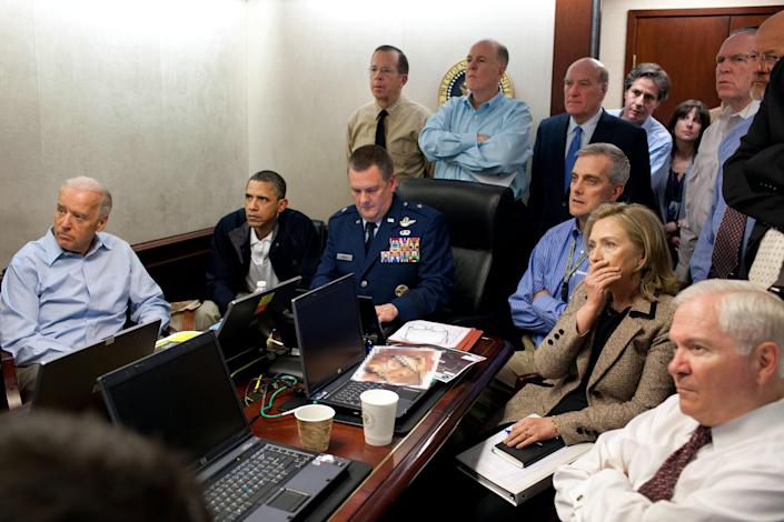 Biden was among those watching the 2011 US military operation that killed Bin Laden (Getty)