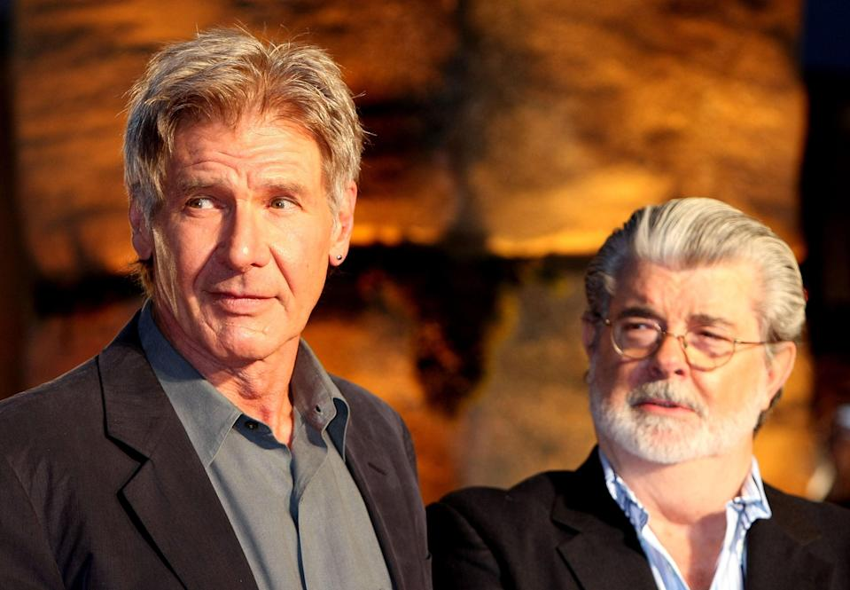 <p>Harrison Ford and George Lucas  at the Japanese premiere of 'Indiana Jones and the Kingdom of the Crystal Skull'  in 2008.</p> (Koichi Kamoshida/Getty Images)