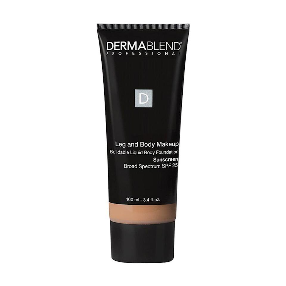 """<p><strong>Dermablend</strong></p><p>amazon.com</p><p><strong>$36.00</strong></p><p><a href=""""https://www.amazon.com/dp/B06XNTNG7T?tag=syn-yahoo-20&ascsubtag=%5Bartid%7C2089.g.30744763%5Bsrc%7Cyahoo-us"""" rel=""""nofollow noopener"""" target=""""_blank"""" data-ylk=""""slk:Shop Now"""" class=""""link rapid-noclick-resp"""">Shop Now</a></p><p>We rarely meet a Dermablend product we don't like, and this leg and body makeup is no different. It contains broad-spectrum SPF 25, so you get some sun protection with your makeup too. Plus, it comes in 11 different shades to choose from, so you can find a match that best suits your skin tone. </p>"""