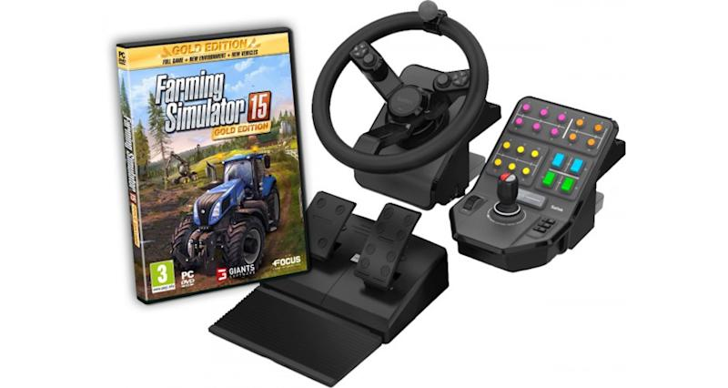farming simulator 15 est livr avec un volant de tracteur. Black Bedroom Furniture Sets. Home Design Ideas