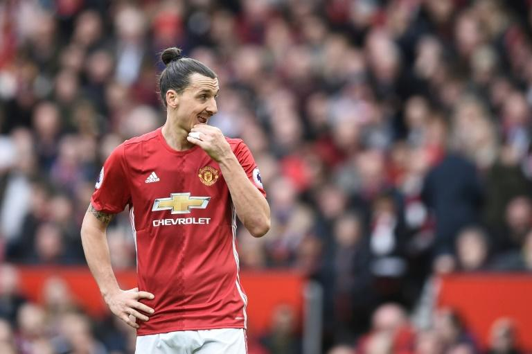 Manchester United's striker Zlatan Ibrahimovic gestures during the English Premier League football match against Bournemouth March 4, 2017