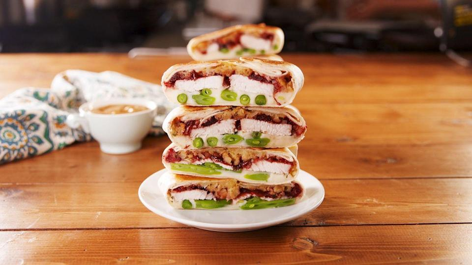 """<p>This one fulfills your Taco Bell craving <em>and</em> uses up all your Thanksgiving leftovers.</p><p><a href=""""https://www.delish.com/holiday-recipes/thanksgiving/a25223451/thanksgiving-crunchwrap-recipe/"""" rel=""""nofollow noopener"""" target=""""_blank"""" data-ylk=""""slk:Get the recipe from Delish »"""" class=""""link rapid-noclick-resp""""><em>Get the recipe from Delish »</em></a></p>"""