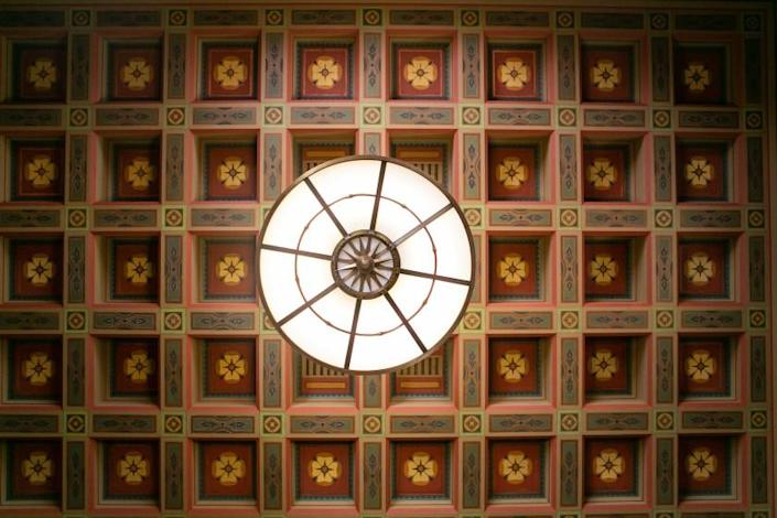 The newly restored hand-painted ceiling at Union Station entry vestibule.