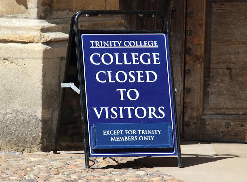 A view of a sign informing the public about the closure of Trinity College, Cambridge. Cambridge University has announced that there will be no face-to-face lectures over the course of the next 2020/2021 academic year due to COVID-19. The world renowned University is currently closed, like all Universities across the UK who sent students home in March and moved lectures, classes, exams and graduation ceremonies online. (Photo by Keith Mayhew/SOPA Images/Sipa USA)