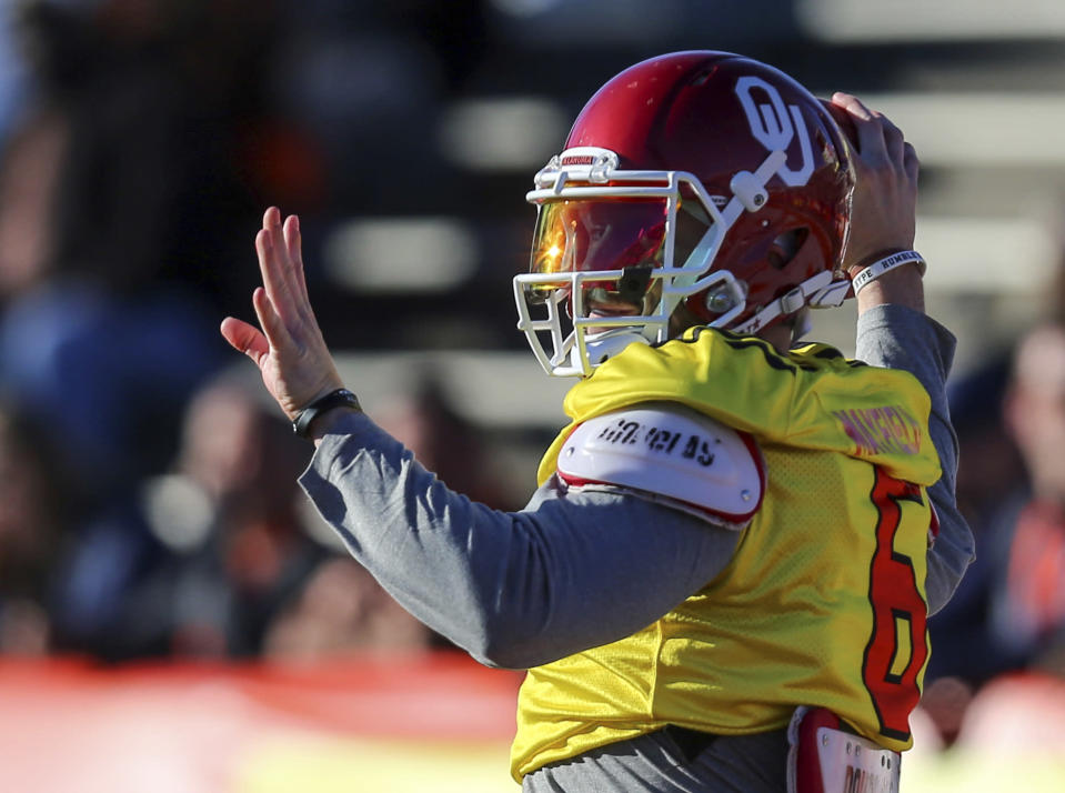 Baker Mayfield said a family health concern kept him from some Senior Bowl activities on Tuesday. (AP)
