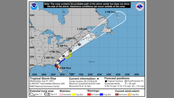 A graphic from the National Hurricane Center shows Tropical Storm Elsa's path as of 8 a.m. Wednesday