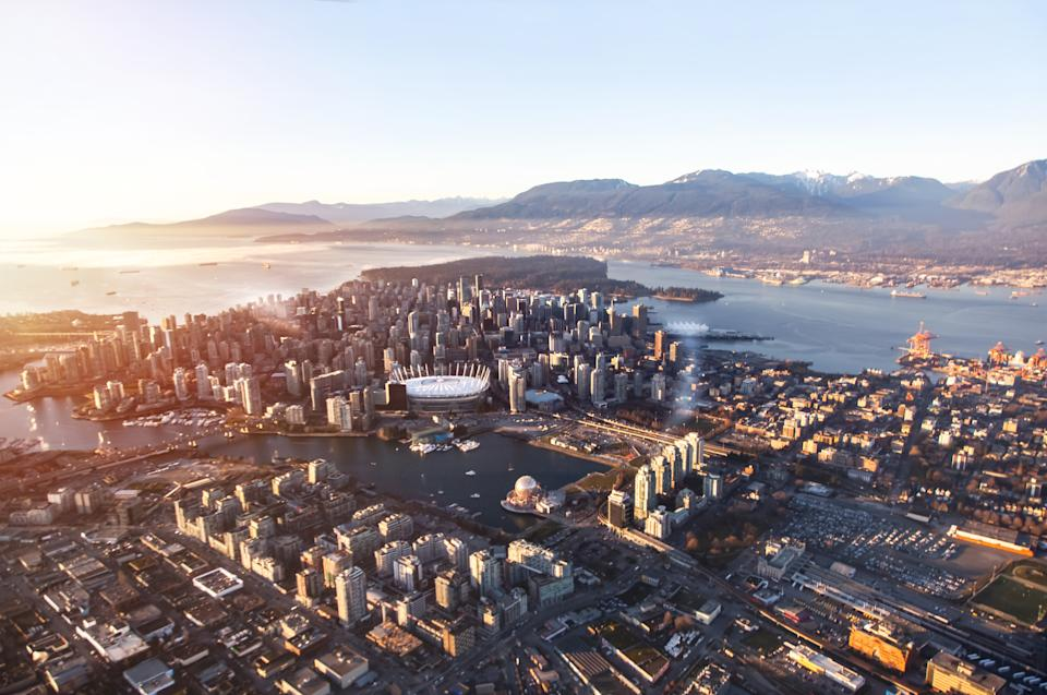 Aerial view of downtown Vancouver (Getty)