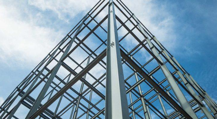 a steel frame for a building
