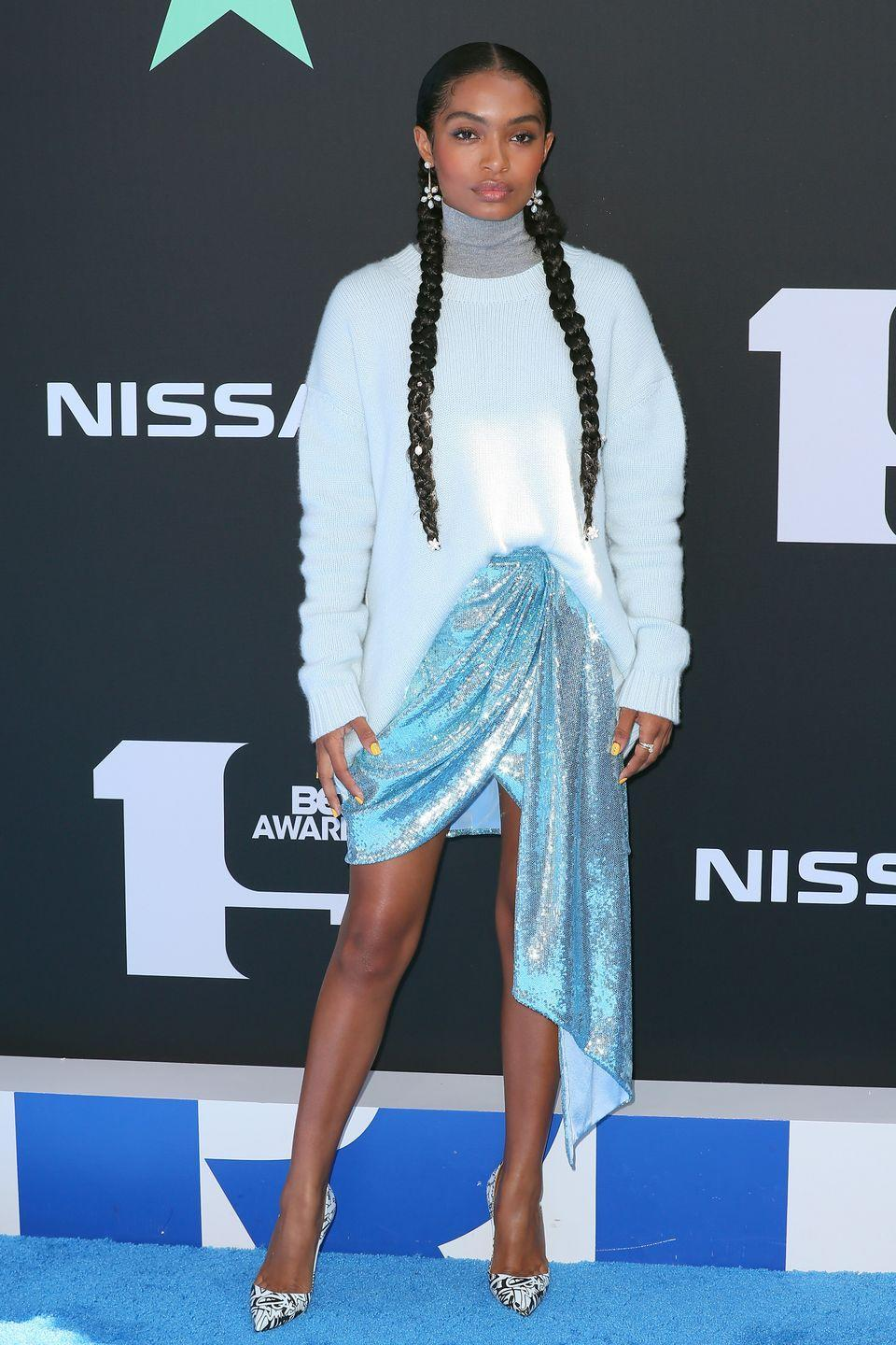 <p>Actress <strong>Yara Shahidi</strong> shows us that this simple sleek style with a braid woven beneath each ear will bring you back to your schoolgirl days (in a sophisticated way!). This is a quick no heat style that keeps your hair protected. </p>