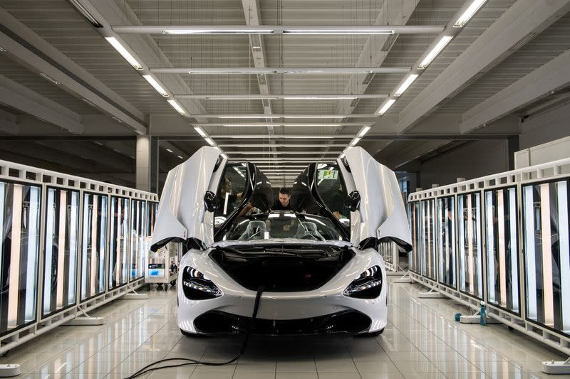 FILE PHOTO: A McLaren 720S is assembled on the factory floor of the McLaren Automotive Production Centre Woking