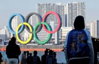 Olympic rings reinstallation at the waterfront area at Odaiba Marine Park in Tokyo
