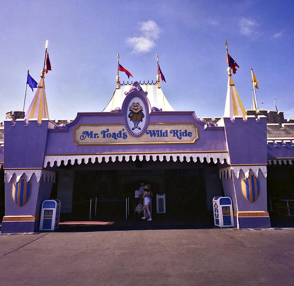 "<p>Although he may not be a household name anymore, Mr. Toad still invites Disneyland visitors to experience his <i>Wind and the Willows</i>-inspired ""wild ride,"" which has been part of Fantasyland since the park's 1955 opening. Unfortunately, the Magic Kingdom version of Toad Hall was phased out in 1998, replaced by The Many Adventures of Winnie the Pooh. <i><a href=""http://disney.wikia.com/"" rel=""nofollow noopener"" target=""_blank"" data-ylk=""slk:(Photo: Disney Wiki"" class=""link rapid-noclick-resp"">(Photo: Disney Wiki</a>)</i></p>"