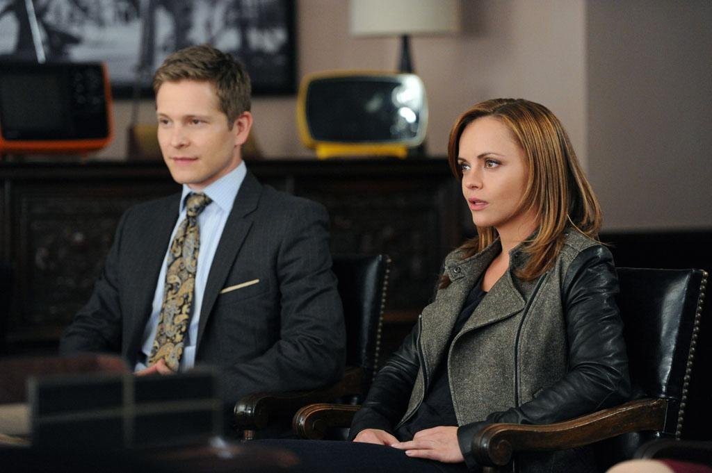 "Cary (Matt Czuchry) talks with comedienne Therese Dodd (Christina Ricci), who is being sued by a television network for indecency in ""Anatomy of a Joke,"" the seventh episode of ""The Good Wife"" Season 4."