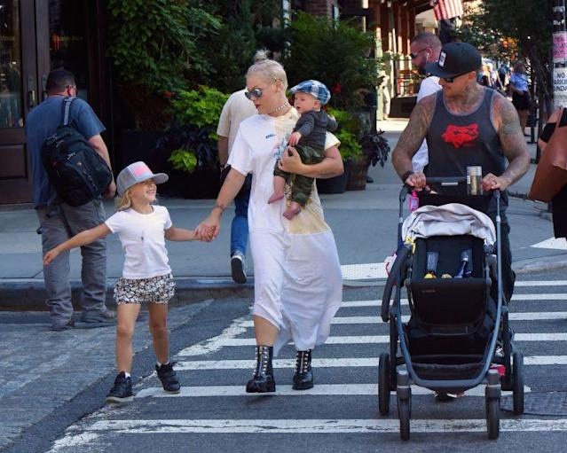 Pink stepped out in New York City with her family. (Photo by Robert Kamau/GC Images)
