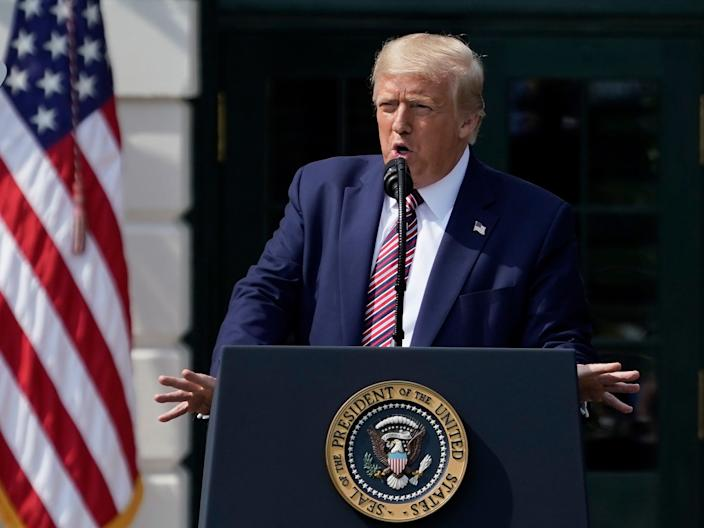 President Donald Trump speaks on the South Lawn of the White House on July 16, 2020 in Washington, DC. On Wednesday, President Trump announced a rollback of the National Environmental Policy Act.