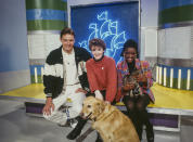 Blue Peter's television hosts John Leslie, Yvette Fielding and Diane-Louise Jordan, UK, circa 1990. (Photo by Tim Roney/Getty Images)
