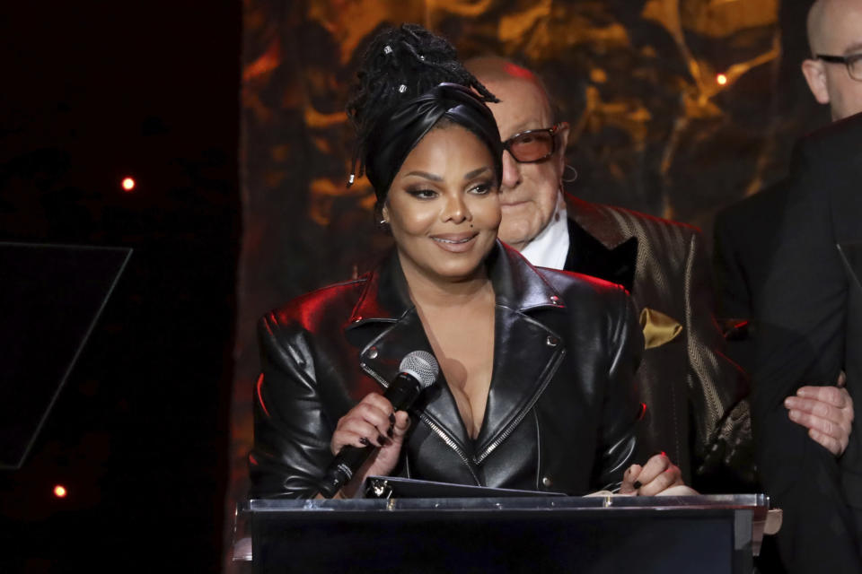 Janet Jackson speaks on stage at the Pre-Grammy Gala And Salute To Industry Icons at the Beverly Hilton Hotel on Saturday, Jan. 25, 2020, in Beverly Hills, Calif. (Photo by Willy Sanjuan/Invision/AP)