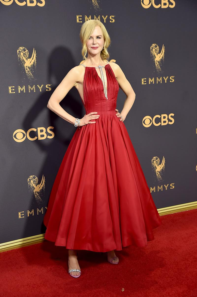 This is definitely not a lie: Nicole Kidman looked stunning in red Calvin Klein. (Photo: Getty Images)