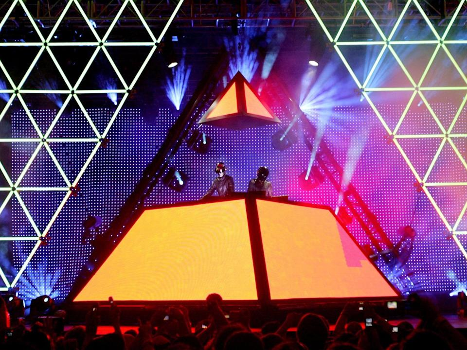 Daft Punk during their famous 2006 Coachella performance (Getty)