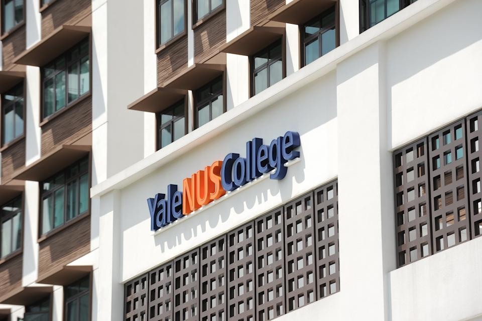 A view of Yale-NUS College sign on the temporary building next to where the main building is under construction and will be completed in year 2015 in Singapore on August 27, 2013. Yale-NUS College is Singapore's first liberal arts college with a full residential program, with the first cohort comprising 155 students. AFP PHOTO/ROSLAN RAHMAN        (Photo credit should read ROSLAN RAHMAN/AFP/Getty Images)
