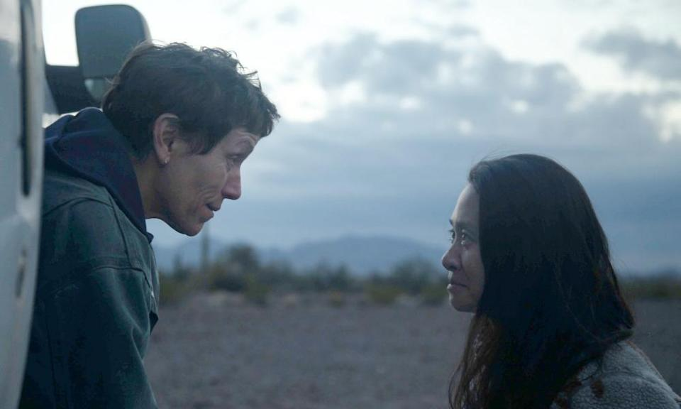 Frances McDormand, left, on the set of Nomadland with director Chloé Zhao.