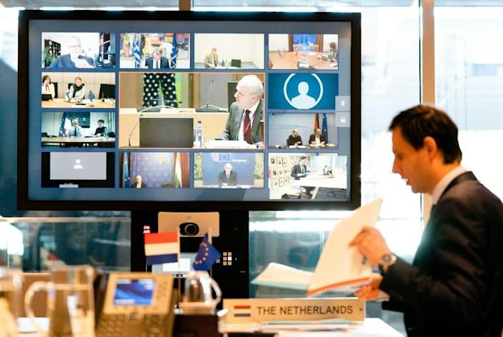EU finance ministers hold a video conference -- they have failed so far to reach consensus over an economic coronavirus response (AFP Photo/Bart MAAT)