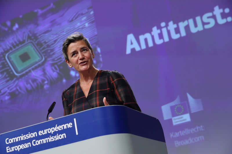 EU Commission VP Vestager holds news conference in Brussels