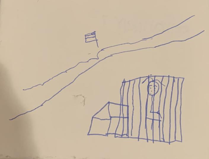 An unidentified 7-year-old child living at a tent encampment in Matamoros, across the border from Brownsville, Texas, draws herself in a cage. | Courtesy of Belinda Arriaga