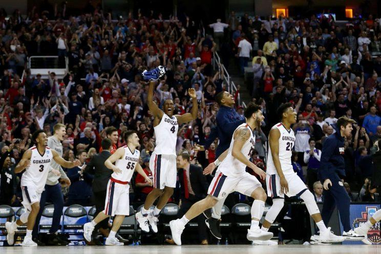 Gonzaga celebrated an Elite Eight win over Xavier, and a first Final Four berth in school history. (Getty)