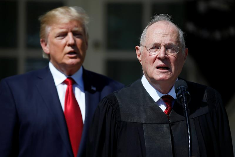 Supreme Court Justice Anthony Kennedy (right) with President Donald Trump at the swearing-in ceremony for Justice Neil Gorsuch.Winning over Kennedy was seen as a crucial part of winning the case of Gill v. Whitford. (Joshua Roberts / Reuters)