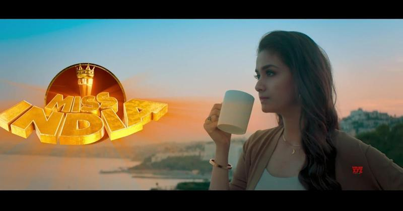 Keerthy Suresh in a still from Miss India teaser. YouTube