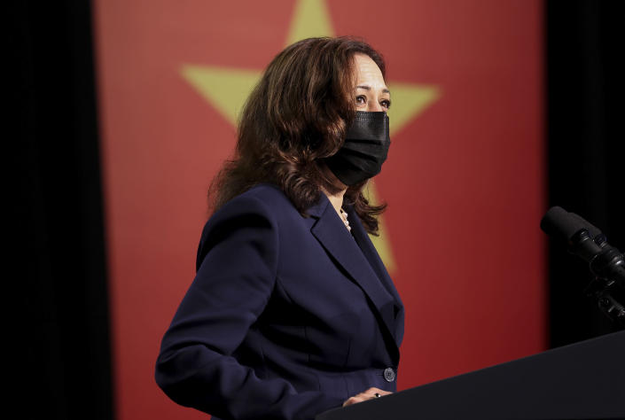 U.S. Vice President Kamala Harris delivers remarks during the official launch of the Centers for Disease Control and Prevention Southeast Asia regional office in Hanoi, Vietnam, Wednesday, Aug. 25, 2021. (Evelyn Hockstein/Pool Photo via AP)