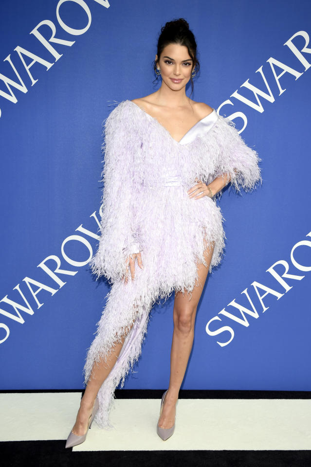 <p>Kendall wasn't afraid to make a statement in this feathery outfit. <br />Source: Getty </p>