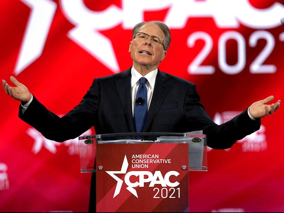 <p>Wayne LaPierre, executive vice president of the National Rifle Association, at CPAC 2021</p> (Reuters)