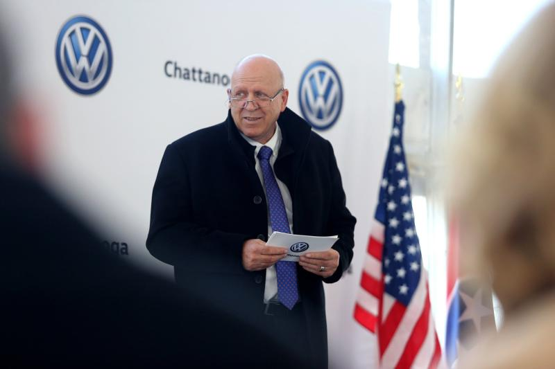 Volkswagen Chattanooga Chief Executive Officer Tom du Plessis speaks during the groundbreaking event for the Volkswagen electric vehicle facility at the Volkswagen plant Wednesday, Nov. 13, 2019 in Chattanooga, Tenn. Volkswagen is making Tennessee its North American base for electric vehicle production, breaking ground on an $800 million expansion at the plant in Chattanooga. (Erin O. Smith/Chattanooga Times Free Press via AP)