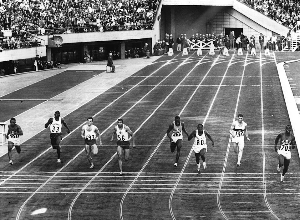 <p>American athlete Robert Hayes wins the Men's 100 Meters Final and sets a new Olympic record of 10.0 seconds in the process.</p>