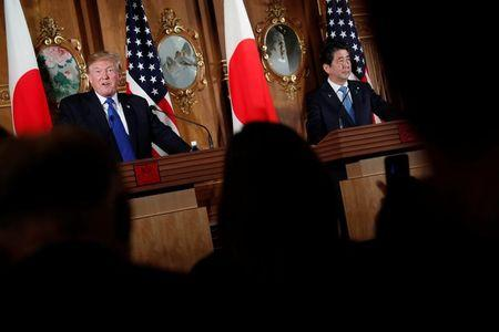 Trump and Abe aim to lessen tension over trade and North Korea
