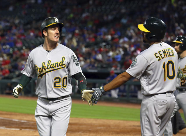 Oakland Athletics Mark Canha (20) Is greeted by Marcus Semien (10) after scoring on a single by Chad Pinder in the fourth inning of a baseball game Monday, April 23, 2018, in Arlington, Texas. (AP Photo/Richard W. Rodriguez)