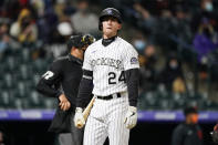 Colorado Rockies' Ryan McMahon reacts after striking out to end in the fifth inning of game two of a baseball doubleheader Tuesday, May 4, 2021, in Denver. (AP Photo/David Zalubowski)