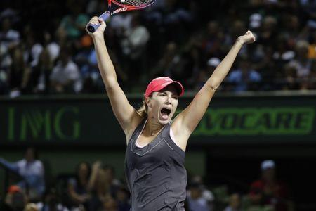 Mar 28, 2018; Key Biscayne, FL, USA; Danielle Collins of the United States celebrates after match point against Venus Williams of the United States (not pictured) on day nine at the Miami Open at Tennis Center at Crandon Park. Mandatory Credit: Geoff Burke-USA TODAY Sports
