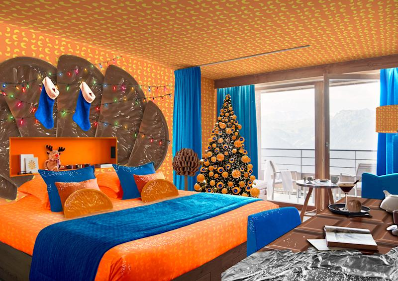 Chocoholics can stay in this Chocolate Orange-inspired hotel room. (Club Med/La Rosiere)