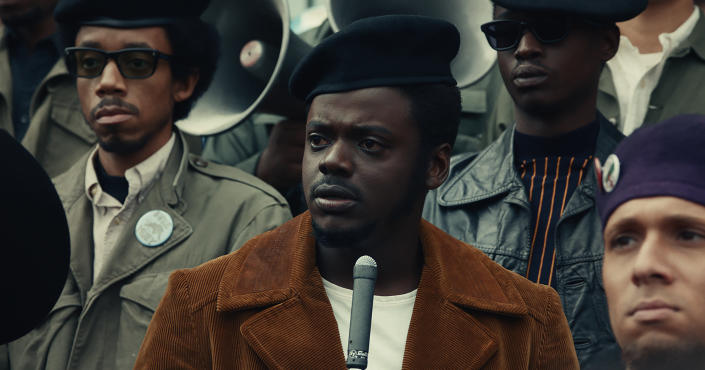 """This image released by Warner Bros. Pictures shows Daniel Kaluuya in a scene from """"Judas and the Black Messiah."""" (Warner Bros. Pictures via AP)"""